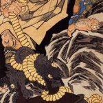 Saito Musashibo Benkei -- Benkei schleppt die Glocke von Miidera auf einen Berg, Darstellung von Kuniyoshi