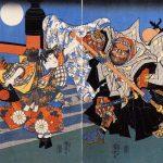 Saito Musashibo Benkei -- Minamoto no Yoshitsune und Benkei kämpfen auf der Gojo-Brücke, Darstellung von Kuniyoshi