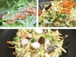 Okonomiyaki Zutaten vermengen & braten